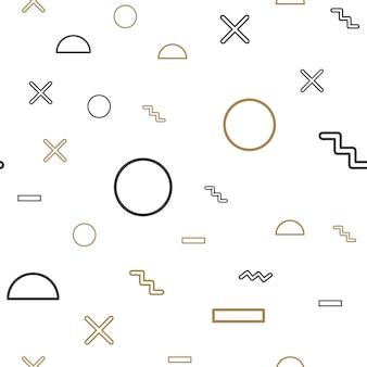ランダムな幾何学的形状パターン、80年代、90年代のレトロなスタイルの抽象的な背景。カラフルな幾何学的なイラスト