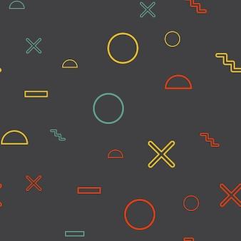 임의의 기하학적 모양 패턴, 80년대, 90년대 복고 스타일의 추상적인 배경. 다채로운 기하학적 그림
