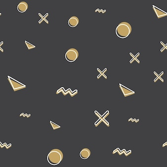 80년대, 90년대 복고 스타일의 임의의 기하학적 모양 패턴입니다. 추상적인 기하학적 배경
