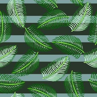 Случайные зеленые листья папоротника орнамент бесшовные каракули шаблон в простом тропическом стиле. полосатый фон. графический дизайн оберточной бумаги и текстуры ткани. векторные иллюстрации.