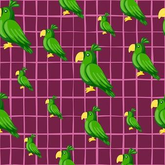 임의의 녹색 앵무새 실루엣 원활한 낙서 패턴입니다. 보라색 밝은 체크 무늬 배경. 직물 디자인, 직물 인쇄, 포장, 덮개에 적합합니다. 벡터 일러스트 레이 션.