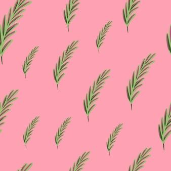 ランダムな緑のローズマリー飾りシームレスな抽象的なパターン。ピンクの明るい背景。花の要素。生地のデザイン、テキスタイルプリント、ラッピング、カバーに最適です。ベクトルイラスト。