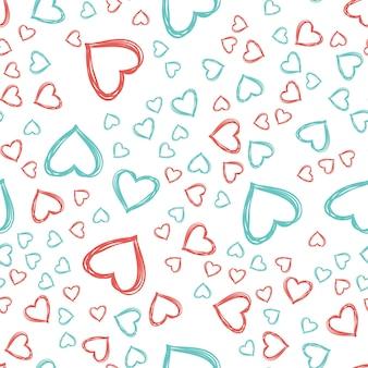 ランダムなハートのパターン。休日テンプレートのバレンタインデーの背景。クリエイティブで豪華なスタイルのイラスト