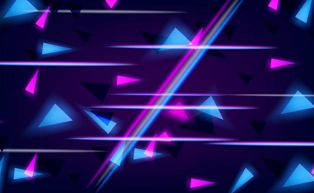 기술 및 미래 배경에 대한 임의의 선 청록색 및 분홍색 광선 효과 네온 색상