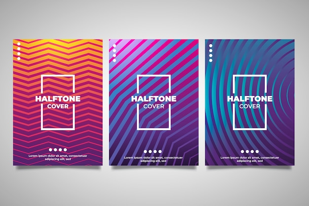 Random lines design halftone gradient cover collection