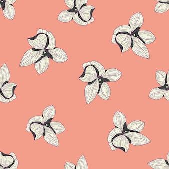 ランダムな輪郭の白い花のシームレスなパターン。蘭の要素