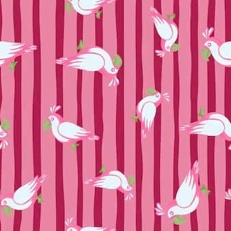 임의의 앵무새 새 장식 원활한 낙서 패턴입니다. 핑크 줄무늬 배경입니다. 간단한 재미있는 스타일. 패브릭 디자인, 섬유 인쇄, 포장, 커버용으로 설계되었습니다. 벡터 일러스트 레이 션.