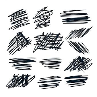 Set di sribbles di schizzo a penna casuale