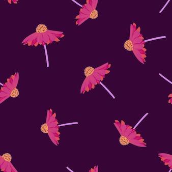 ランダムなピンクのガーベラの花のシームレスな落書きパターン