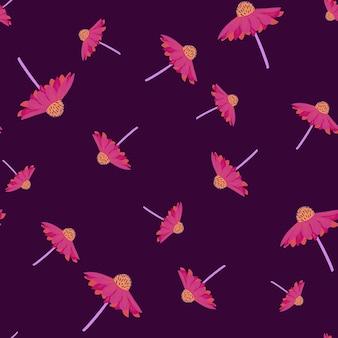 ランダムなピンクのガーベラの花がシームレスなパターンを形作ります。