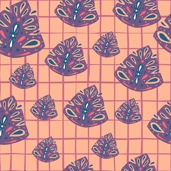 Random purple pastel abstract folk monstera ornament seamless pattern. pink chequered background.