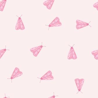 ほくろの創造的な飾りとランダムなシームレスな分離パターン。明るいパステル背景にピンクの小さな昆虫。