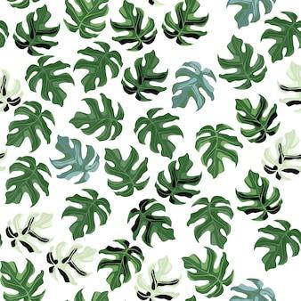 ランダムなシームレスなモンステラリーフパターン。白い背景の上の小さな緑の植物飾り。 ed、壁紙、テキスタイル、包装紙、布プリント。図。