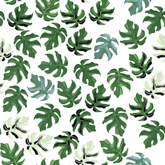 Random  seamless monstera leaf pattern. little green botanic ornament on white background. ed for wallpaper, textile, wrapping paper, fabric print.  illustration.