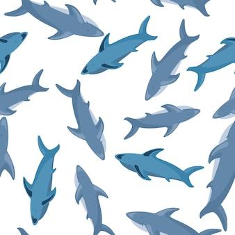 Случайный бесшовный образец с принтом силуэтов синей акулы. белый фон. печать дикой природы.