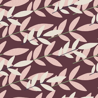 Random seamless pattern with botanic elements. lilac and light branches on purple background.