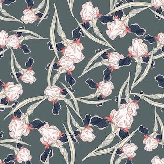 Случайный бесшовный образец с элементами творческих ирисов. бледно-голубой фон. цветочный принт. векторная иллюстрация для сезонных текстильных принтов, ткани, баннеров, фонов и обоев.