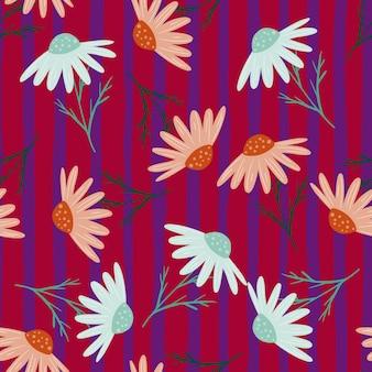 落書きキンセンカ飾りとランダムなシームレスパターン