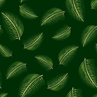 Случайные бесшовные модели с зелеными абстрактными листьями папоротника силуэты. темный фон. простой стиль. графический дизайн оберточной бумаги и текстуры ткани. векторные иллюстрации.