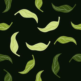 緑の落ちてくるみかんの葉の形とランダムなシームレスパターン