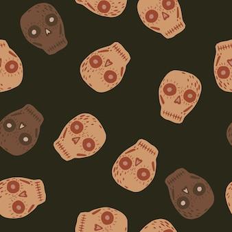 メキシコの装飾の頭蓋骨の形をしたランダムなシームレスパターン