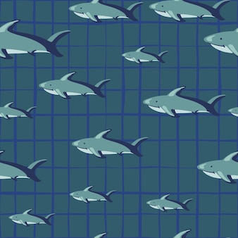 Random seamless pattern with shark fish silhouettes. grey chequered background. abstract geometric style. designed for fabric design, textile print, wrapping, cover. vector illustration.