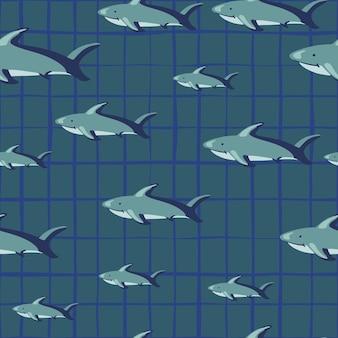 Случайный бесшовный образец с силуэтами рыб акулы. серый клетчатый фон. абстрактный геометрический стиль. предназначен для тканевого дизайна, текстильной печати, упаковки, обложки. векторная иллюстрация.