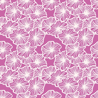 Random seamless pattern with simple outline floral ornament. white contoured elements on bright pink background.