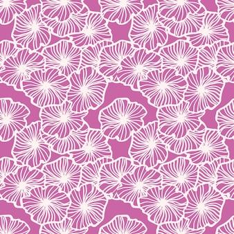 シンプルなアウトライン花飾りのランダムなシームレスパターン。明るいピンクの背景に白い輪郭を描かれた要素。