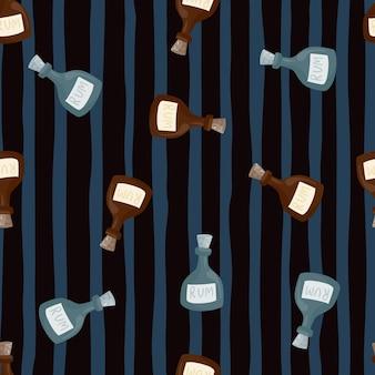 落書きラムボトルの形が印刷されたランダムなシームレスパターン。濃い青の縞模様の背景。抽象プリント。ファブリックデザイン、テキスタイルプリント、ラッピング、カバー用に設計されています。ベクトルイラスト。