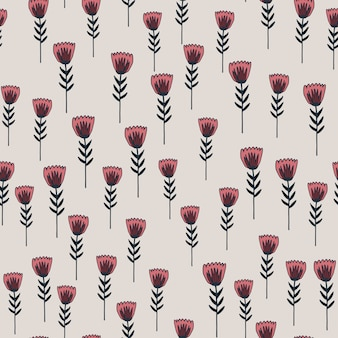 Random seamless spring pattern with green contoured flowers shapes and pink elements. light pastel background. decorative backdrop for wallpaper, wrapping paper, textile print, fabric.