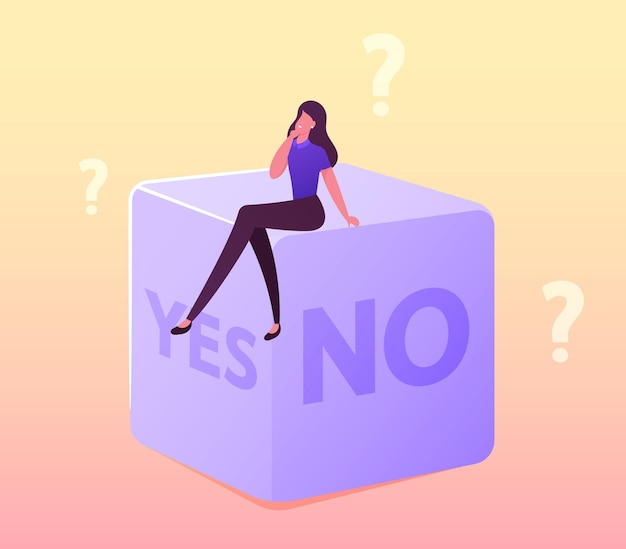Random selection or making hard decision illustration. tiny female character sitting on huge dice with yes or no sides
