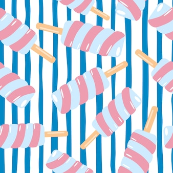 Random spiral pink ice cream seamless pattern. white background with blue lines.