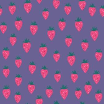 ランダムなイチゴのシームレスなパターン。イチゴの無限の壁紙。