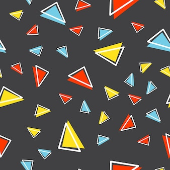 임의의 삼각형 패턴, 80년대, 90년대 복고 스타일의 추상적 기하학적 배경. 다채로운 기하학적 그림