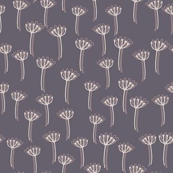Random white contoured little dandelion seamless pattern. pastel purple background. stylized backdrop.