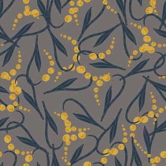 ランダムな黄色の抽象的なスズランのシルエットのシームレスなパターン。灰色の背景。ストックイラスト。テキスタイル、ファブリック、ギフトラップ、壁紙のベクターデザイン。
