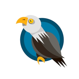 Range of icon design with the american eagle, rendered in flat design style
