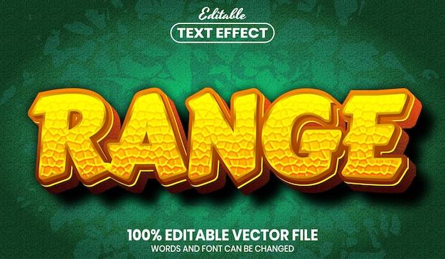 Range text, editable text effect