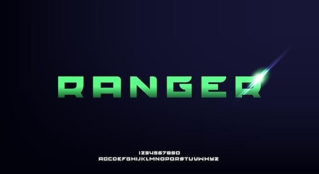 レンジャー、大胆で未来的なフォント、モダンなsf書体デザイン。アルファベット