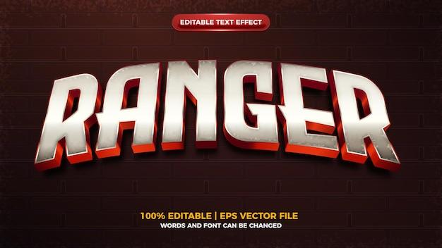 Рейнджер гранж серебряный герой 3d редактируемый текстовый эффект