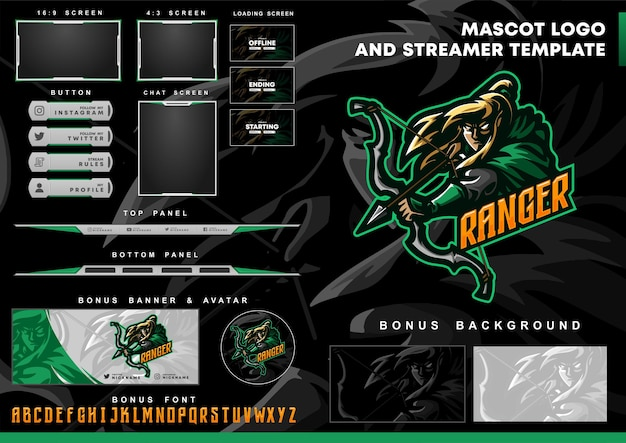 Ranger mascot logo and twitch overlay template