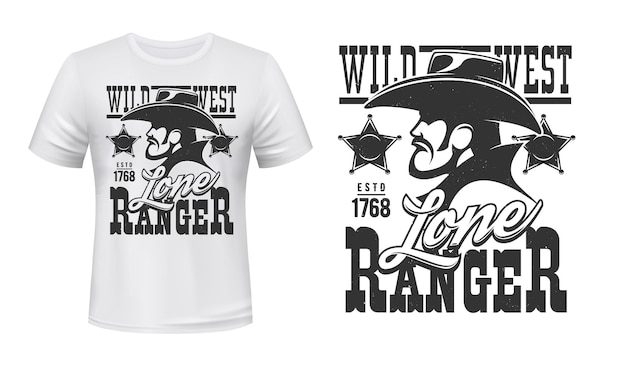 Ranger t-shirt print of wild west cowboy and sheriff star badge