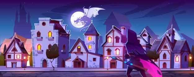 Рейнджер с магической охотой на копье на лету дракона в небе