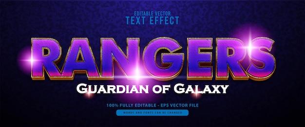 영화 제목, 포스터 및 인쇄 제품에 적합한 레인저스, 빛나는 보라색 및 금색 텍스트 효과