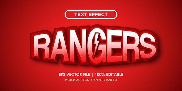 레인저스 빨간색 텍스트 효과 편집 가능