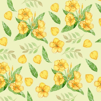 Rannunculus yellow flower watercolor seamless pattern