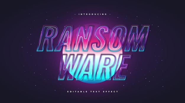 Ransom ware text in realistic glass style and glowing effect. editable text style effect