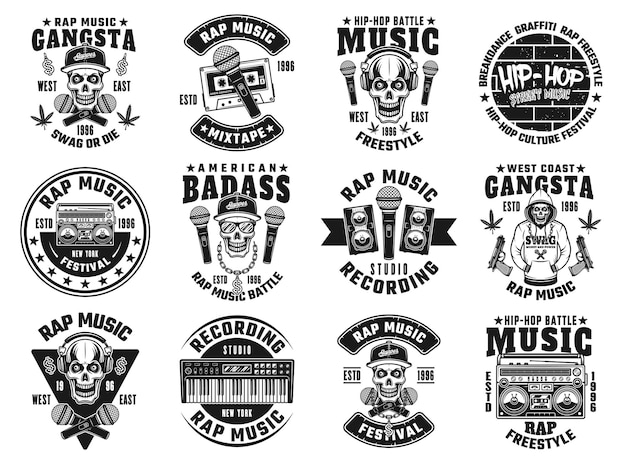 Рэп и хип-хоп набор из двенадцати векторных эмблем, этикеток, значков или логотипов в монохромном стиле, изолированные на белом фоне