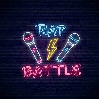 Rap battle neon sign with two microphones and lightning. emblem of hip-hop music.